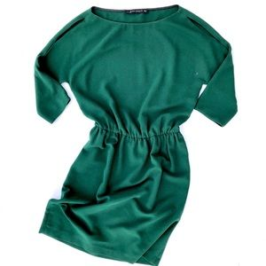 Zara • Emerald Green Shoulder Cut Out Dress